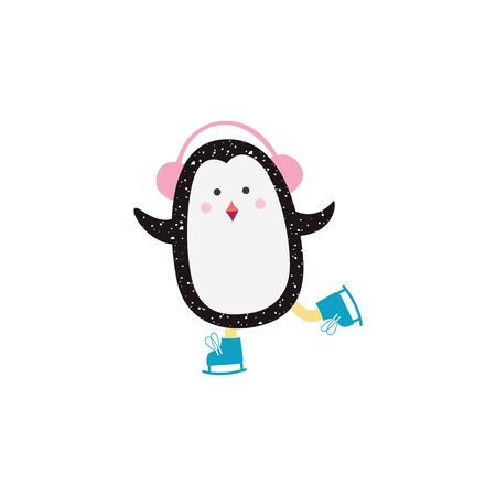 Christmas cute cartoon penguin with headphones skating the flat vector illustration isolated on white background. Winter and New year card or banner's hand drawn element.