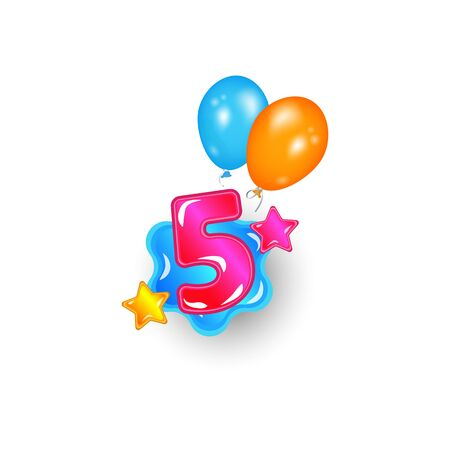 Colored number five with stars and balloons cartoon vector illustration isolated on white background. Childrens birthdays and kids holidays the font design element.