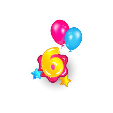 Colorful banner with number six among stars and balloons cartoon vector illustration isolated on white background. Font element for childrens birthdays and kids holidays.