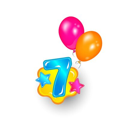 Festive and bright number seven with glossy stars and balloons. Children birthday greetings for cards, party and decoration, seven years old child and kid. Isolated cartoon vector illustration.