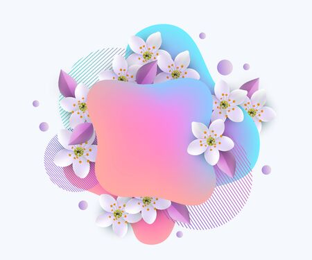 Modern geometric layered gradient banner with white sakura flowers, liquid blue and pink shapes intertwined with floral cherry blossom, spring sale poster card - isolated vector illustration Illustration
