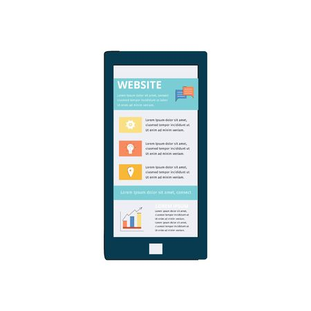 The mobile phone screen displays online article publication flat vector illustration isolated on white background. Web media technology and text copyrating concept.