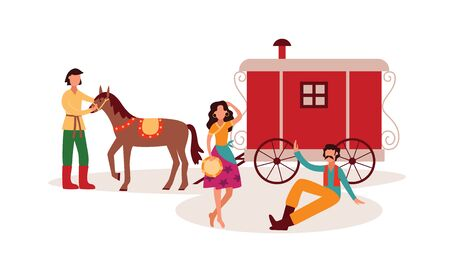 Gypsies or Romani traditional scene with horse drawn carriage wagon and people ethnic characters dancing, flat cartoon vector illustration isolated on white background.