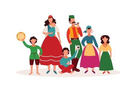 Gypsy people - isolated cartoon character family in traditional clothes and Romany culture artefacts. Woman and man with children - flat hand drawn vector illustration on white background Illustration