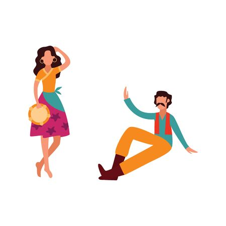 Gypsy woman with tambourine dance, beautiful female cartoon character in traditional clothing and barefoot perform before onlooker man, flat isolated vector illustration on white background