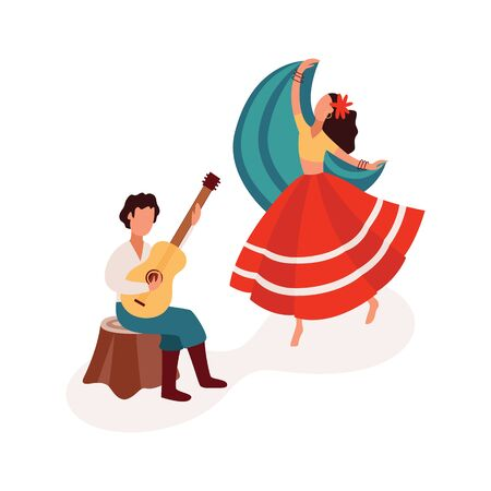 Dancing and playing guitar gypsy couple dressed in ethnic wear, flat cartoon vector illustration isolated on white background. Gypsy culture and people diversity concept. Illustration