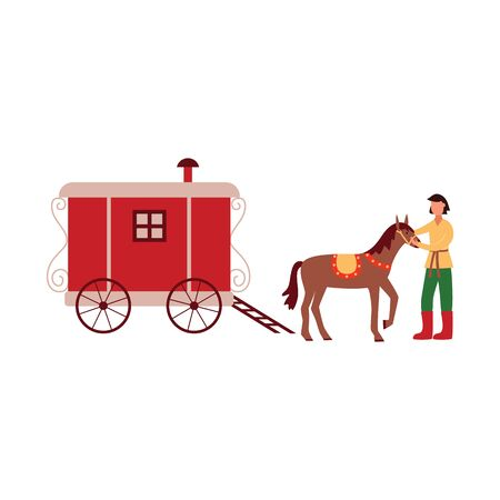 Gypsy vardo trotting wagon with brown horse and groom - isolated cartoon vector illustration on white background, hand drawn flat traditional wooden Romani travel vehicle