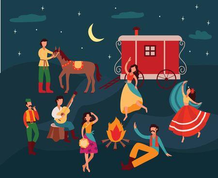 Zigeuner tanzen in der Nacht, Cartoon-Männer und -Frauen in traditioneller Kleidung spielen Musik und feiern am Lagerfeuer mit Pferd und Vardo-Wagen Vektorgrafik