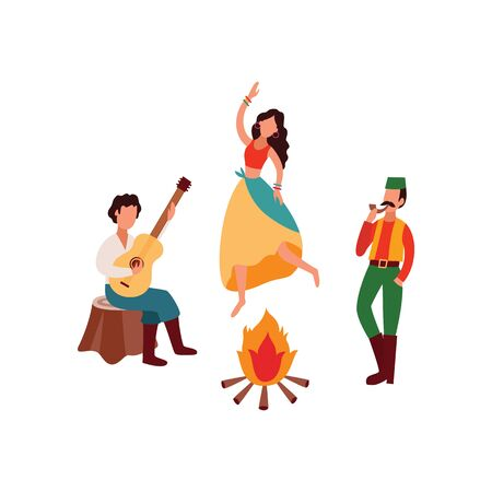 Ethnic group the lifestyle scenes with gypsies or Romani people playing guitar and dancing around the fire flat cartoon vector illustration isolated on white background. Zdjęcie Seryjne - 128171035