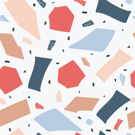 Terrazzo floor marble seamless hand crafted pattern in blue and red the abstract vector illustration. Stone trendy texture background for architecture design. 向量圖像
