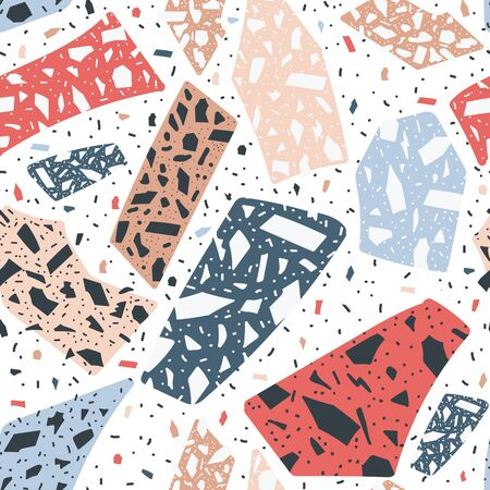Terrazzo floor marble seamless hand drawn pattern for background abstract vector illustration. Traditional venetian material the granite and quartz rocks and sprinkles mixed. Stok Fotoğraf - 128171040