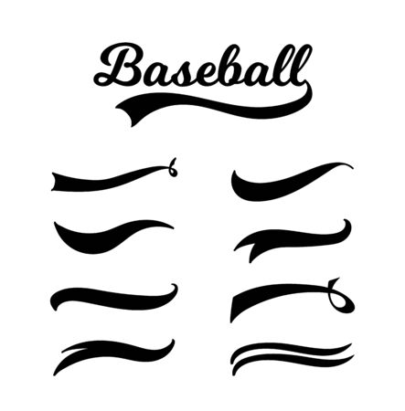 Baseball lettering and typography set with vintage swoosh collection, retro sports banner font with variations of different swirl tail ornaments