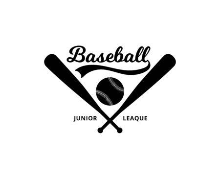 Baseball junior league design for sport badge or team logo identity, black and white