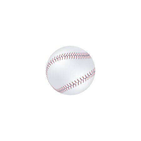 Realistic white baseball isolated on white background, leather ball with blue and red lace stitches and double seam, American team sport equipment vector illustration