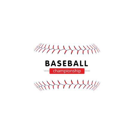 Baseball-Meisterschaftsbanner - isolierte Softball-Nahtschnürsenkel ohne Ball- und Textvorlage. Vektorgrafik