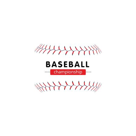 Baseball championship banner - isolated softball seam laces without the ball and text template. Illustration