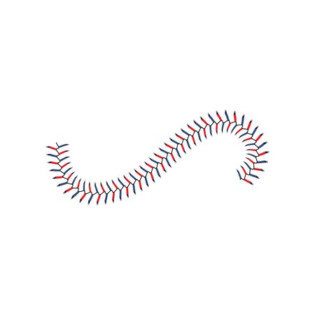 Baseball stitch lace wave line isolated on white background, realistic blue and red laces for white leather softball, realistic ball seam texture - isolated sport vector illustration