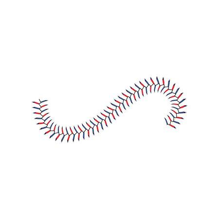 Baseballstich-Spitzenwellenlinie isoliert auf weißem Hintergrund, realistische blaue und rote Schnürsenkel für weißen Leder-Softball, realistische Ballnaht-Textur - isolierte Sportvektorillustration