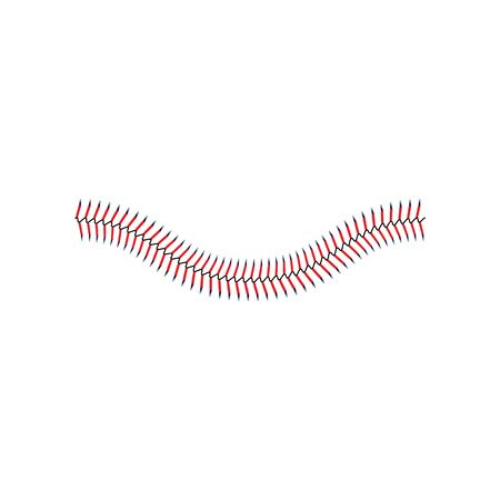 Baseballspitze oder dekorative klassische rote Naht gebogene Elementvektorillustration lokalisiert auf weißem Hintergrund. Baseballspielbälle Stiche für sportliche Projekte.