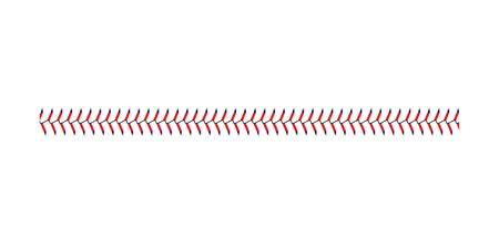 Baseball and softball lace stitch isolated on white background, straight line of sport ball seam with blue and red stitches, team game graphic symbol - realistic vector illustration 矢量图像