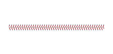 Point de dentelle de baseball et de softball isolé sur fond blanc, ligne droite de couture de balle de sport avec des points bleus et rouges, symbole graphique de jeu d'équipe - illustration vectorielle réaliste
