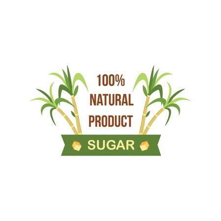 100% natural sugar cane product label design, green plant with tropical leaves for sweet food and drinks, flat badge with banner for organic produce ad