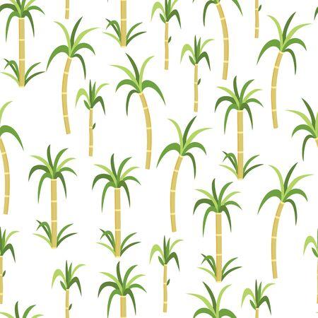 Modèle sans couture de plantes de canne à sucre ou de canne pour la conception de sucre biologique contenant le paquet de nourriture, illustration vectorielle à plat sur fond blanc. Produits écologiques naturels. Vecteurs