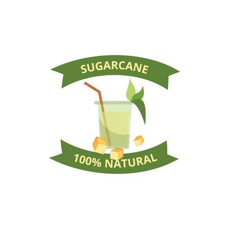 Sugarcane naturalness and quality certification label or mark for cane-consisting food and drink eco products, vector illustration isolated on white background.