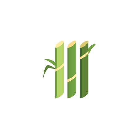 Green sugar cane plant stalks - geometric flat icon of sugarcane farm produce. Stok Fotoğraf - 125390753