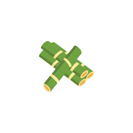 Green sugar cane plant stalk pile icon. Natural agriculture produce crop drawing isolated on white Illustration