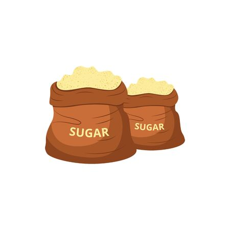 Brown jute sugar bags filled with sweet yellow powder, two piles of sugarcane produce in filled up burlap sacks, isolated flat vector illustration in hand drawn cartoon style