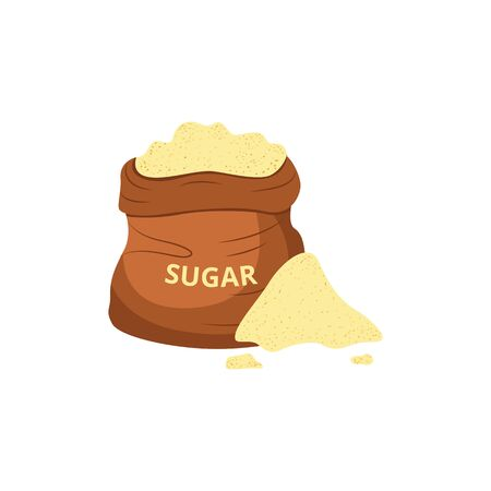 Sack of sugarcane or organic cane sweetener flat vector illustration isolated on white background. Icon or mark for sugar-containing organic food and drink products.