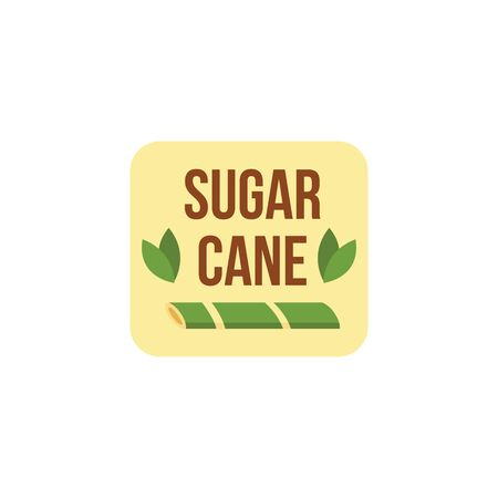 Badge or emblem for sugar cane bio products with green cane plants