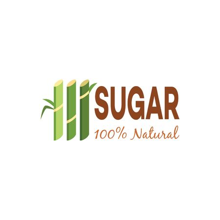 Natural sugar cane bio products emblem or label with green cane plants Illustration