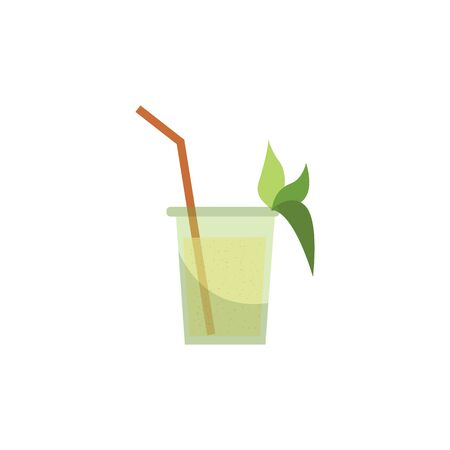 Sugarcane or organic sweetener-consisting drink or juice with green cane leaves,vector illustration isolated on white background. Icon or mark for food and drink. Иллюстрация