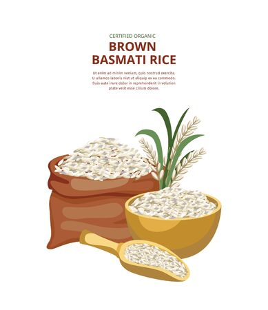 Template for the brown basmati rice package with the burlap sack of rice cereal Illustration