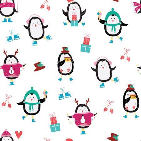 Patrón sin fisuras de Navidad con pingüinos de dibujos animados patinando y vistiendo suéteres de invierno y sombreros la ilustración de vector plano sobre fondo blanco. Impresión o papel tapiz de año nuevo.