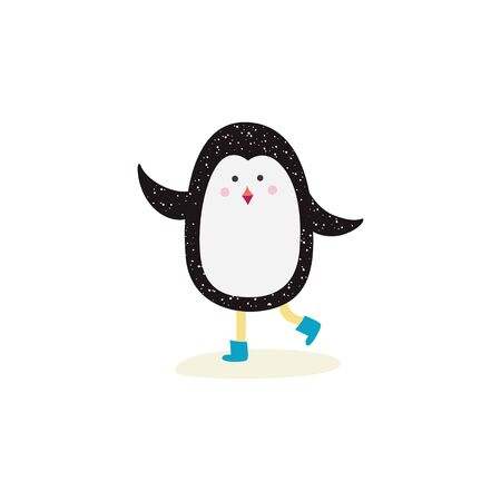 Cute cartoon penguin wearing blue boot waving in skating pose, friendly Arctic animal walking in snow - isolated flat hand drawn vector illustration on white background Foto de archivo - 128171065
