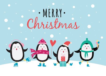 Merry christmas banner or greeting card with cute cartoon characters of penguins in winter hats and skate flat Çizim