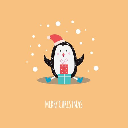 Christmas cute penguin in the winter red hat with gift boxes cartoon flat vector illustration on orange background. Xmas and New Year greeting card or poster template.
