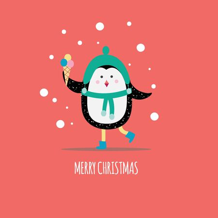 Christmas winter greeting card template with cute cartoon penguin holding ice cream flat vector illustration on colorful background. Xmas holiday poster or banner design.