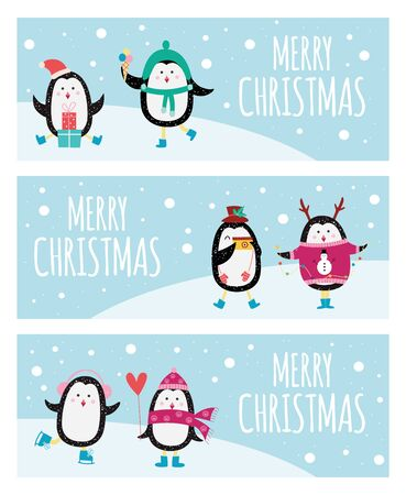 Cute cartoon penguin banner set - Merry Christmas greeting cards with cute animals dressed in cozy winter clothes Banco de Imagens - 125390609