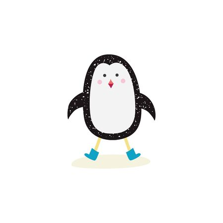 Christmas winter cute penguin the cartoon funny bird element for greeting Xmas cards and New Year decoration, flat vector illustration isolated on white background.