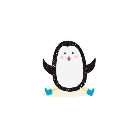 Cartoon penguin sitting and doing the splits, cute Arctic animal in hard yoga pose sitting in snow and waving arms, flat isolated hand drawn vector illustration on white background