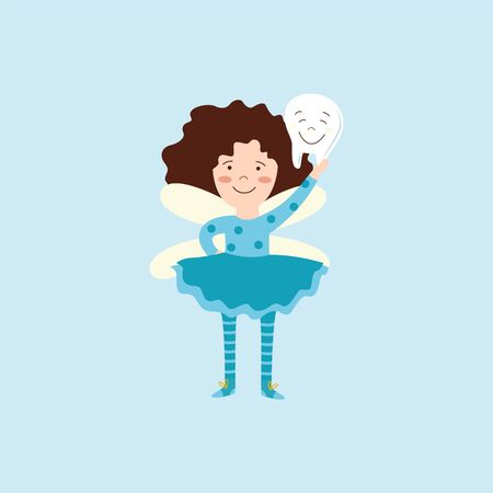 Child tooth fairy holding a smiling tooth. Cartoon girl in fantasy costume with wings proud of dental hygiene, childhood myth character isolated on blue background - flat vector illustration Çizim