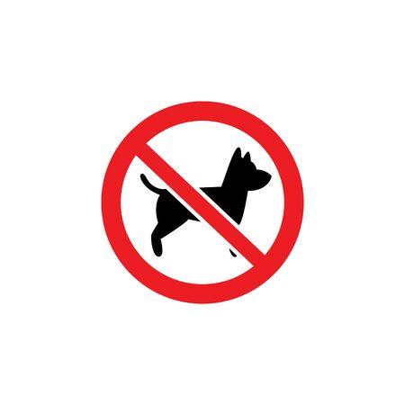 Kein Hundeaufkleber lokalisiert auf weißem Hintergrund. Symbol für verbotene Haustiere und Tiere auf dem Grundstück oder Gebiet, flaches Schild mit durchgestrichenem rotem Kreissymbol, Vektorillustration