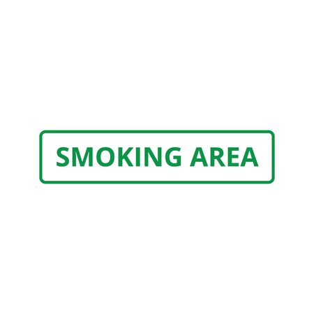 Smoking area - green text in rectangle frame isolated on white background, simple symbol sign for smokers and public health safety restriction information, flat vector illustration