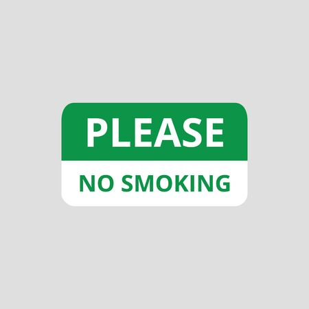 Please no smoking sign in green and white color, smoke restricted area icon for people with tobacco addiction, public ban on cigarettes - text sticker symbol, isolated flat vector illustration