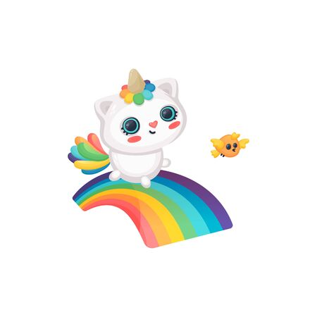 A cute and funny caticorn, cat and a unicorn smiles and runs along the rainbow next to the bird. Caticorn fantasy and magic character with bird and rainbow. Isolated vector cartoon illustration. Ilustração