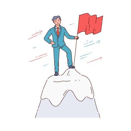 L'homme d'affaires et l'employé ont atteint et grimpé au sommet d'une entreprise ou d'une montagne et ont mis le drapeau, la croissance de carrière. L'homme conquiert les affaires du sommet, réussit. Illustration comique de vecteur. Vecteurs